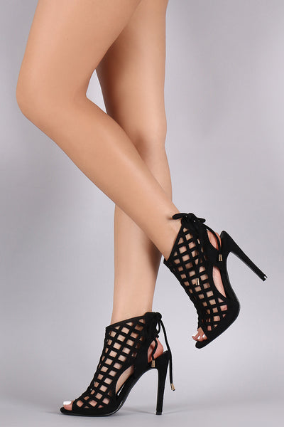 Suede Laser-Cut Lace Up Peep Toe Stiletto Heel