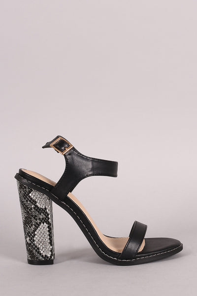Open Toe Ankle Strap Python Heel