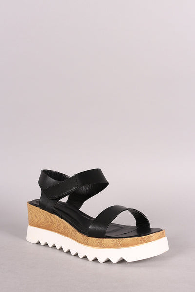 Open Toe Lug Sole Flatform Wedge