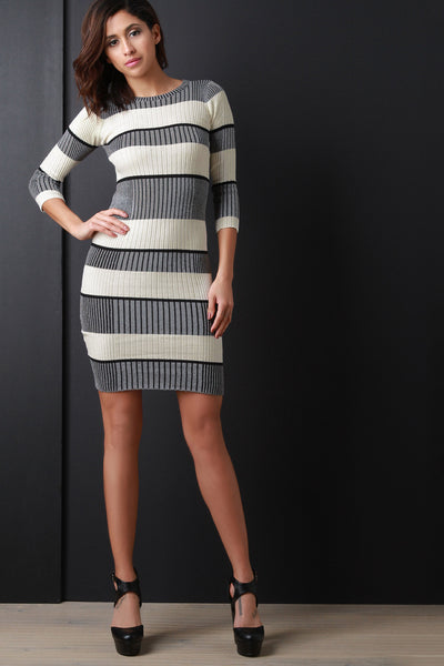 Ribbed With Stripe Dress