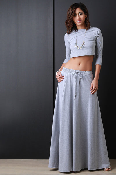 Terry Three Quarter Sleeve Crop Top