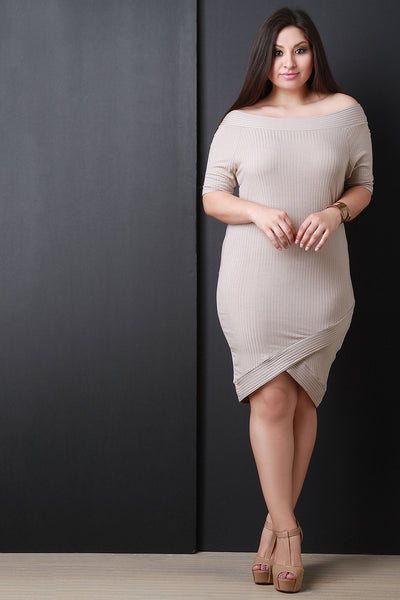 Ribbed Knit Off-The-Shoulder Dress