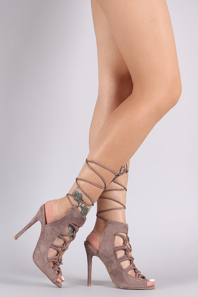 Suede Lace-Up With Strap Stiletto