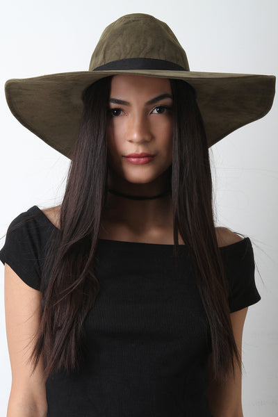 Wide Brim with Leather Belt Floppy Hat