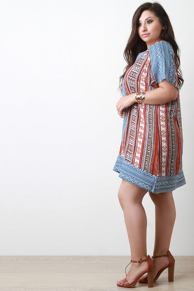 Tribal Print Split V-Neck Short Sleeve Shift Dress