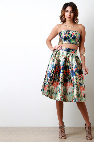 Taffeta Garden Pleated Skirt
