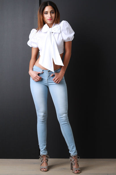 Puff Sleeve & Bow Crop Blouse