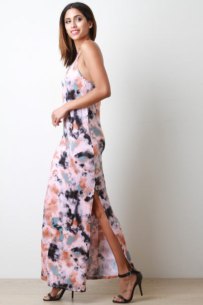 Slit Maxi Tye Die Dress