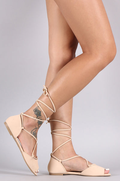 Peep Toe Lace-Up Flat