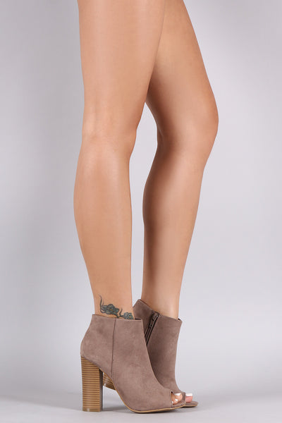 Suede Open Toe Chunky Heeled Booties