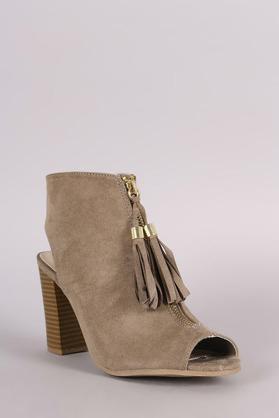 Tassel with Chunky Heeled Mule Booties