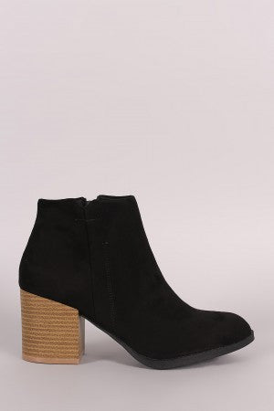 Suede Side Zipper Bootie