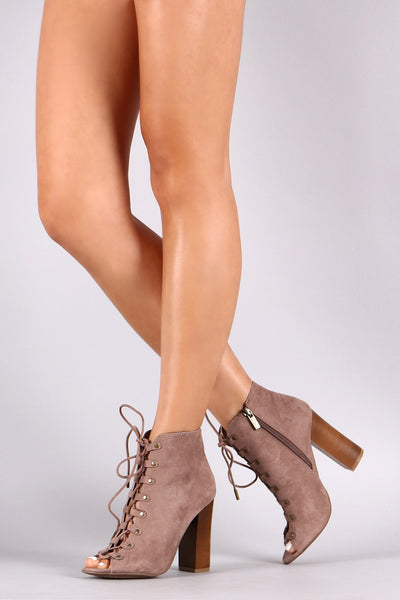 Suede Lace-Up Studded Booties