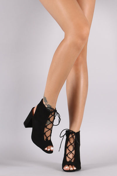 Suede Lace-Up Chunky Mule Heel
