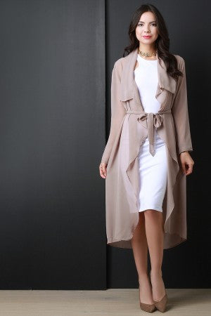 Trendy Chiffon Trench Cardigan