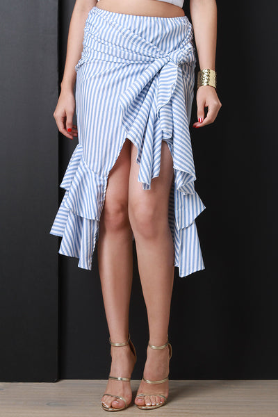 Tie & Wrapped Ruffle Skirt