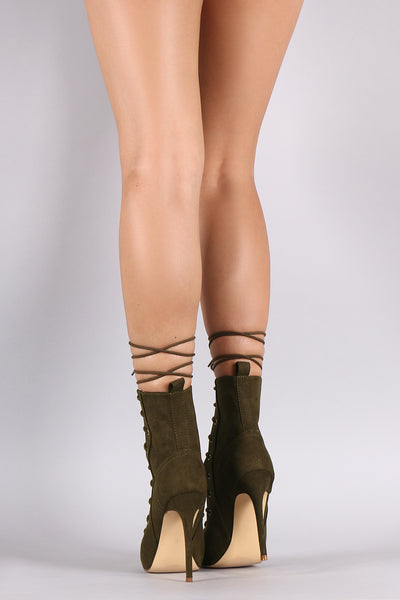 Suede Lace Up Peep Top Stiletto Booties