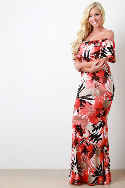 Tropical Off The Shoulder with Ruffle Maxi