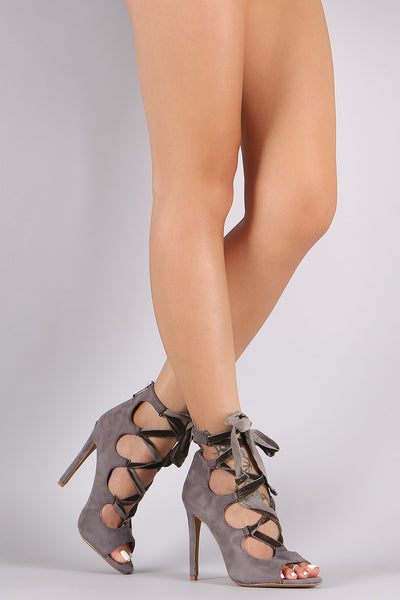 Suede Lace-Up Stiletto