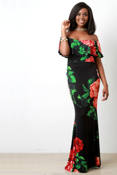 Rosey Off The Shoulder Ruffle Maxi Dress
