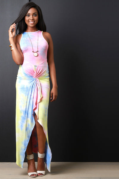 Twisted High-Low Tie-Dye Maxi Dress