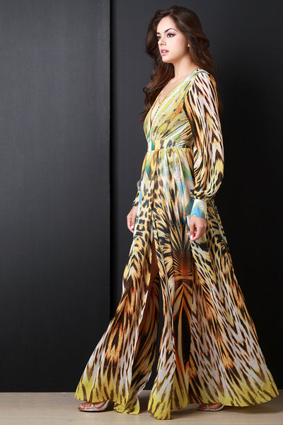 Safari Chiffon Maxi Dress