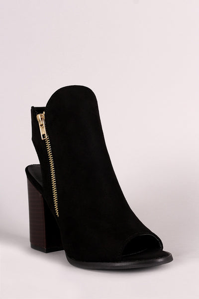 Suede Zipper Peep Toe Booties