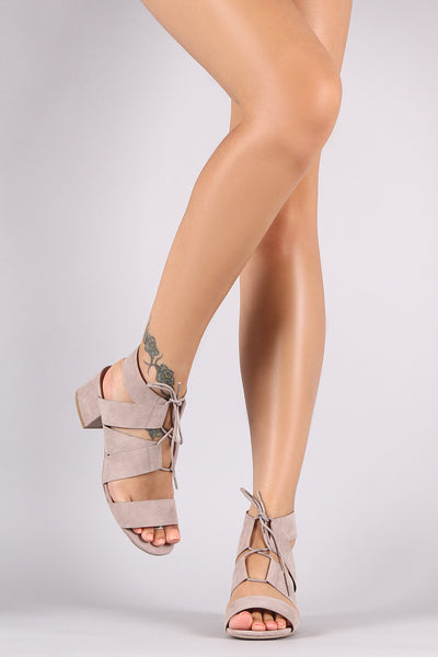 Thick Strappy Mini Chunky Heel