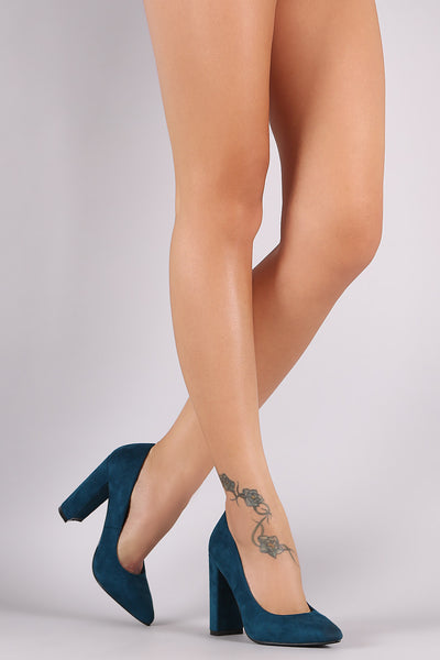 Suede Pointy Toe Chunky Heel Pump