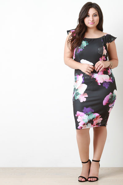 Plus Size Floral With Ruffle Sleeves Dress