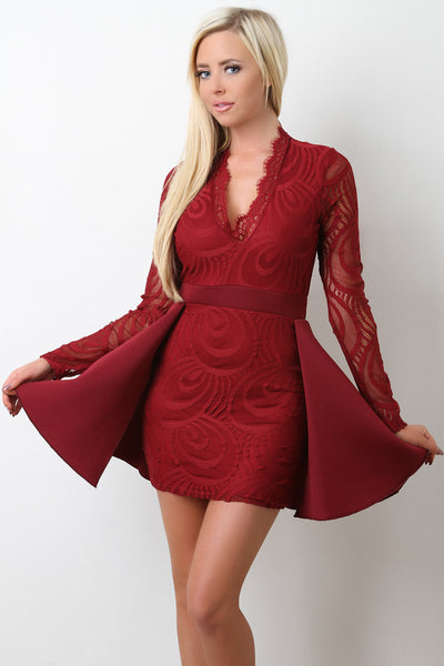 Peplum Tail Lace Bodycon Dress