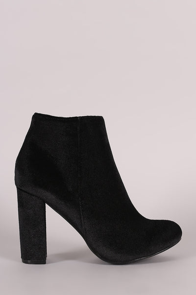 Velvet Round Toe Chunky Heeled Booties