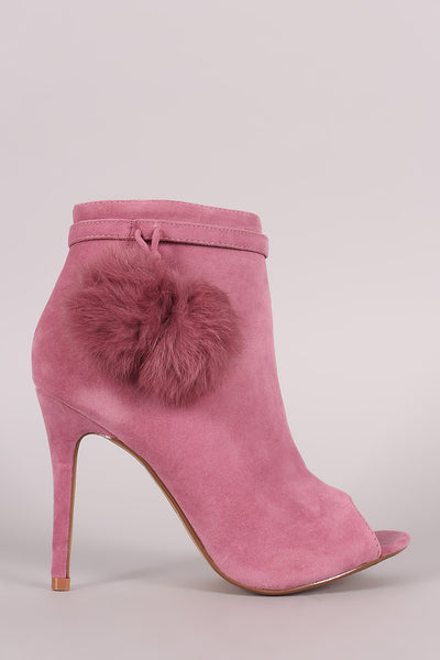 Suede with Fur Poms Booties