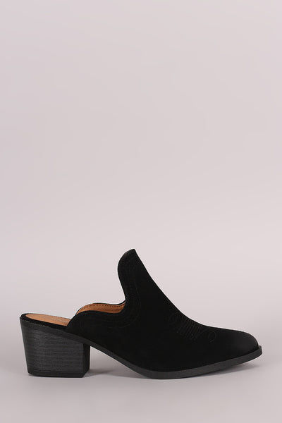 Suede With Mule Blocked Heel