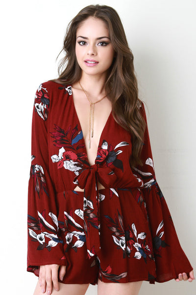 Printed Romper with Bell Sleeves