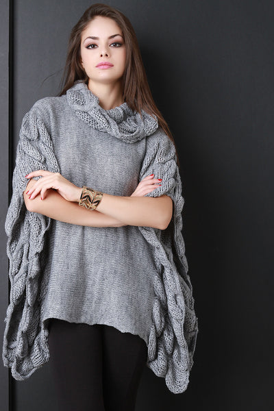 Thick Knit Cow Neck Sweater Poncho