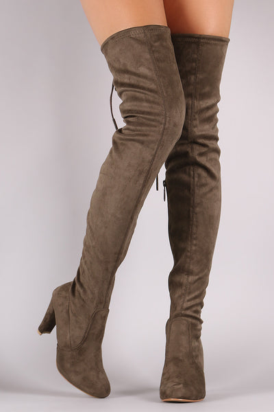 Suede Tie Up Over The Knee Boots