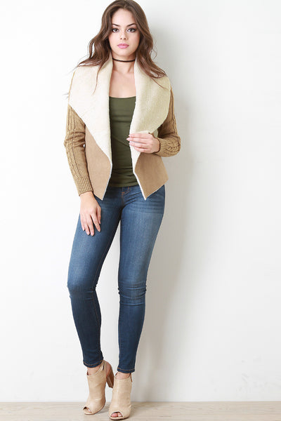 Suede with Open Front Jacket