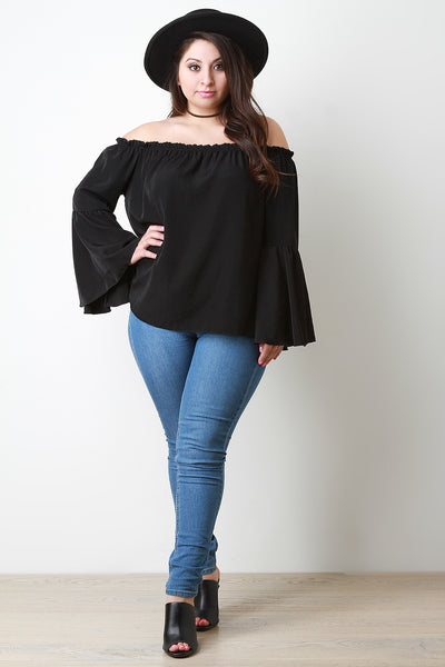 Ruffle Trim Off The Shoulder Bell Sleeve Top