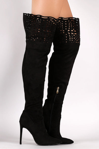 Suede Cutout Over The Knee Boots