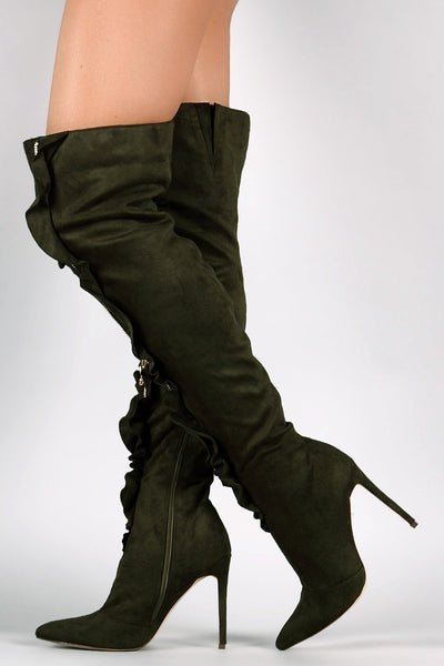 Suede Zipper Front Stiletto
