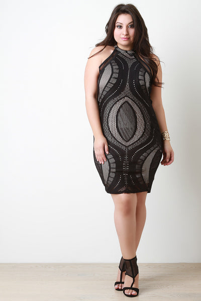 Oval Lace Mock Bodycon Dress