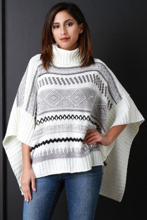 Printed Turtle Neck Poncho