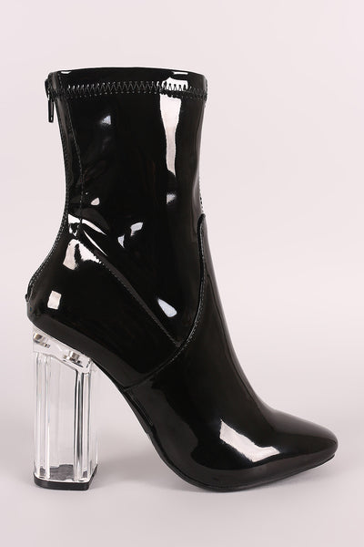 Patent Leather with Chunky Clear Heel Booties