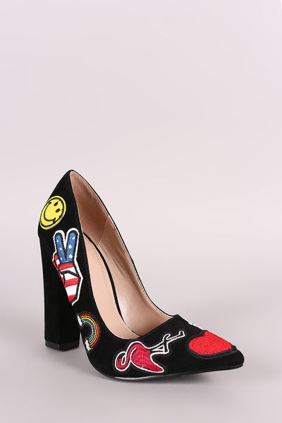 Suede Patched-Up Trendy Pump