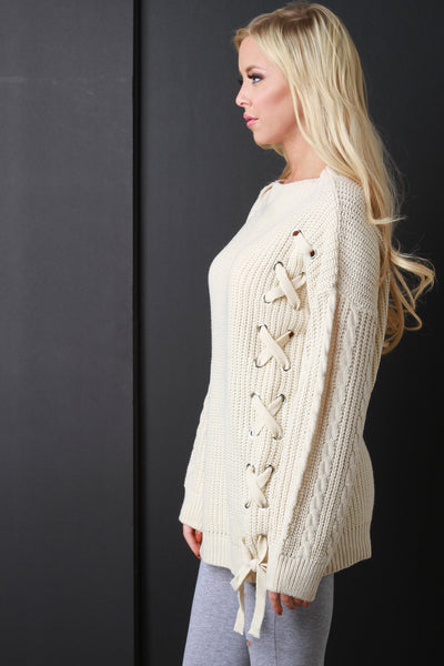 Side Tie-Up Sweater