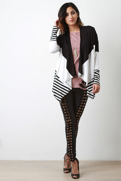 Stripe With Drape Front Cardigan