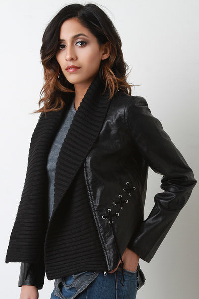 Sweater Collar Moto Jacket