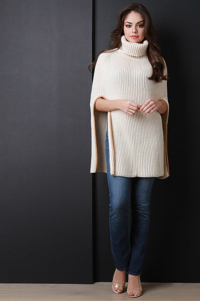 Turtle Neck Poncho Sweater