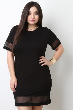 Sheer Mesh Bottom Jersey Dress